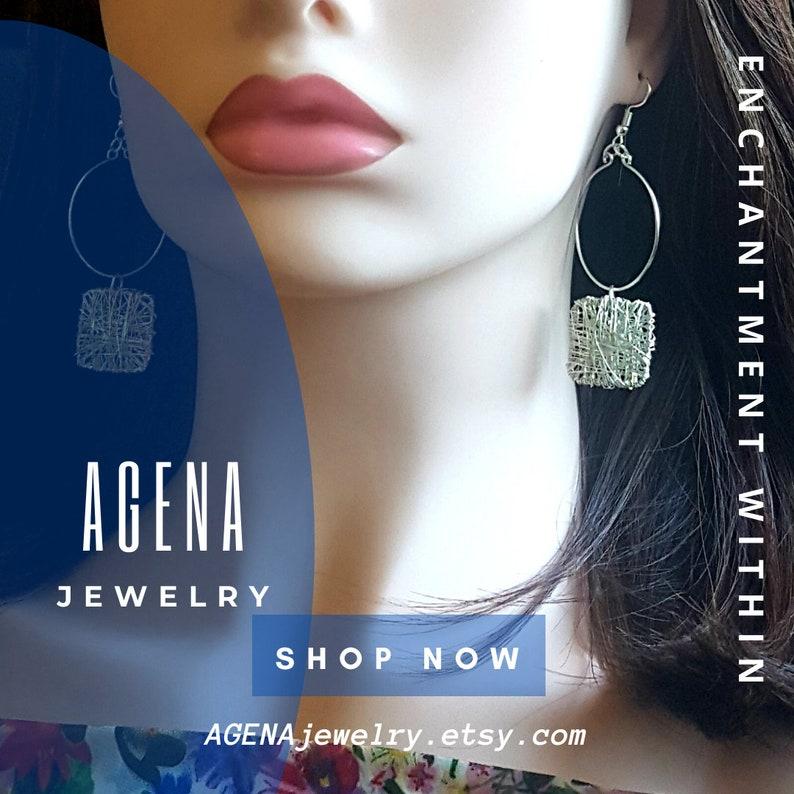 100/% handmade Jewelry Chic Earrings Circle and Square Earrings Minimalist Jewelry Silver Plated Geometric Drop Earrings