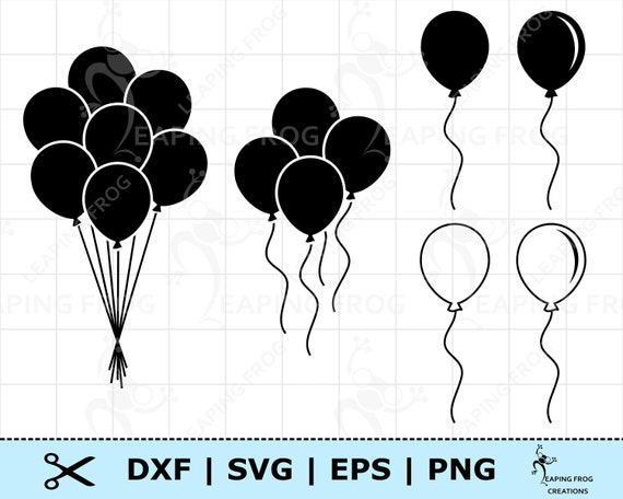 Balloons SVG. Balloons DXF. PNG. eps. Cricut cut files, Silhouette. Layered files. Digital download. Balloon set png. Balloon clipart svg
