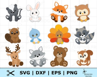 Woodland Animals SVG Set. Woodland Creatures SVG. Cricut cut files, layered files. Silhouette files. DXF. Woodland Animals bundle png dxf