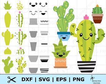 Cactus SVG. Succulents SVG. Cricut cut files, layered files. Silhouette. Mix & Match! Cactus DXF. Cacti set svg. Cactus set svg. Clipart png