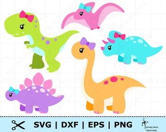 girl dinosaur svg
