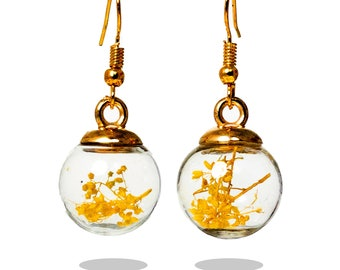 Snow globes earrings  Vials Earrings  Glass Ball Earrings with Dried Flowers  Crystals Earrings