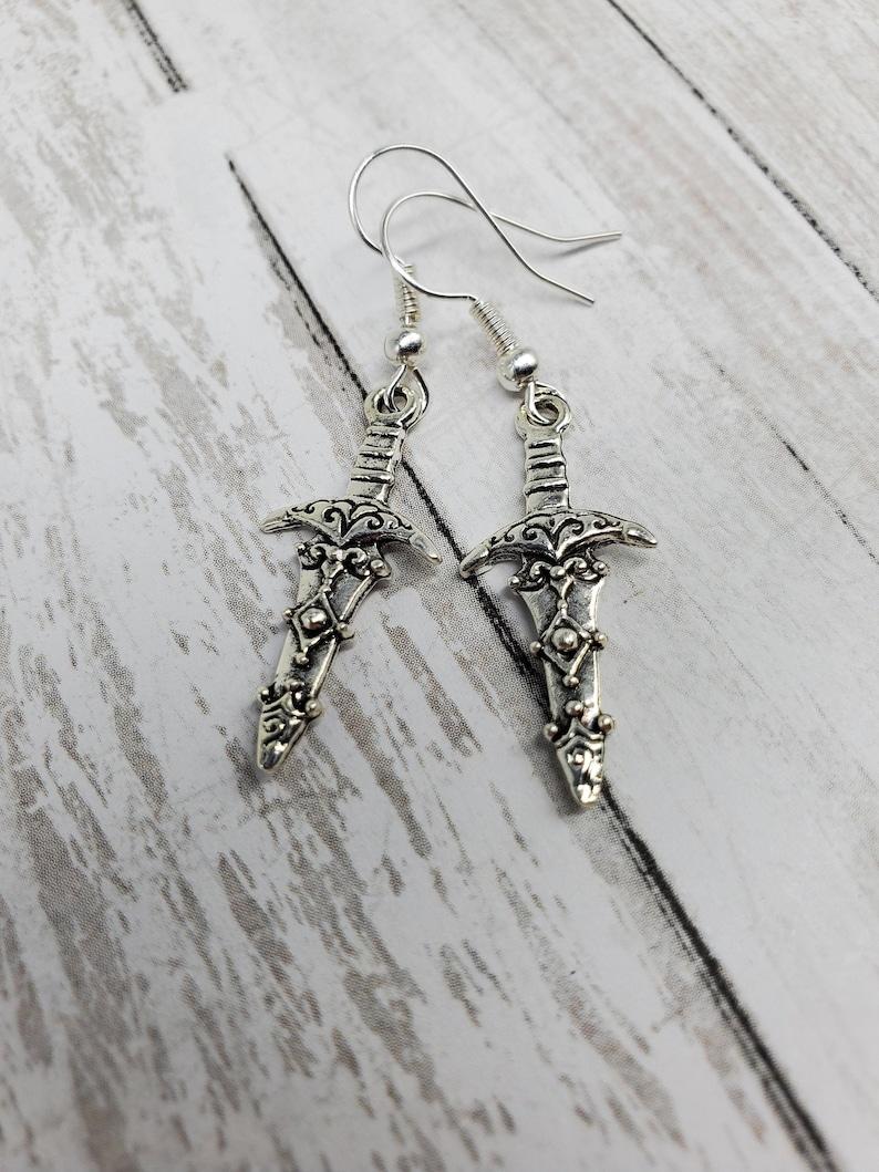 Dagger Earrings Halloween Earrings Punk Earrings Goth image 0