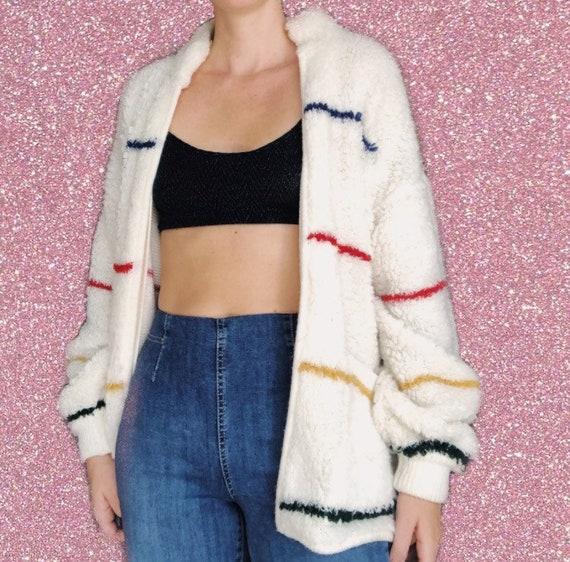 1970s Shag Sweater // Vintage Stripped 70s Cardiga