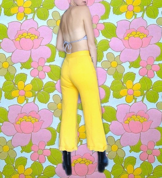 Lemon Yellow 70s Flares // High waisted // Vintag… - image 3