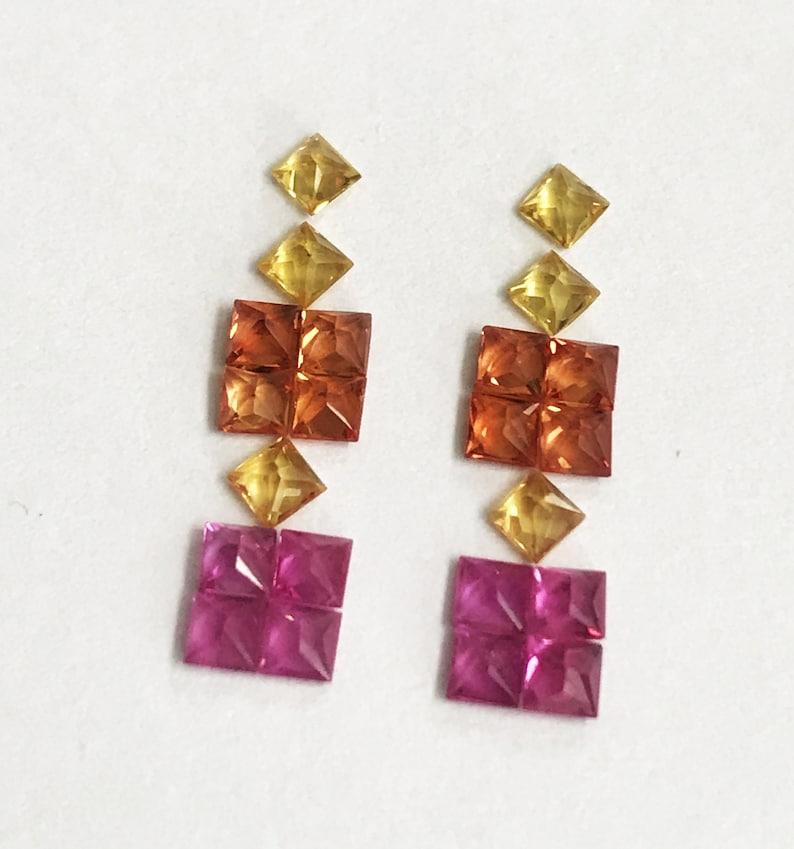 Loose Gemstone Princess Cut Sapphire Square Faceted 22PCS PRINCESS CUT 2.25mm Rainbow Sapphire Square AAA Multi Sapphire Gemstone