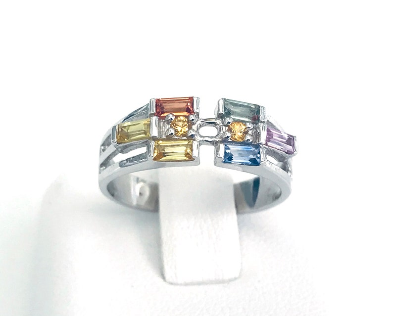 925 Sterling Silver Multi Sapphire Eternity Ring For Women 925 Sterling Silver Ring Silver Engagement Ring Silver Rainbow Ring