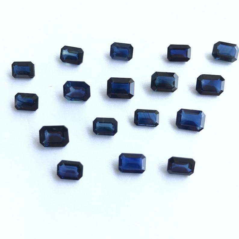 1 Pcs Natural 7x5mm Blue Sapphire Emerald Cut Faceted Gemstone Australian Sapphire Gemstone Blue Sapphire Octagon 7x5mm Loose Gemstone
