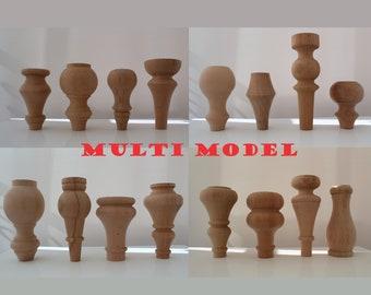 Wooden Sofa Legs Mid Century Ottoman Cabinet Handmade Wood Set of 4 of 6