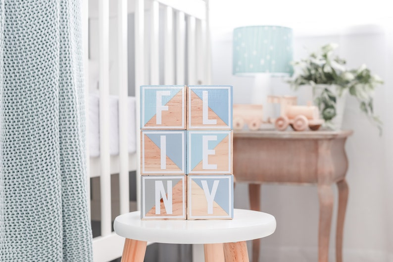 Wooden Baby Blocks Baby Boy Duck Blue and Grey Set Hand Cut image 0