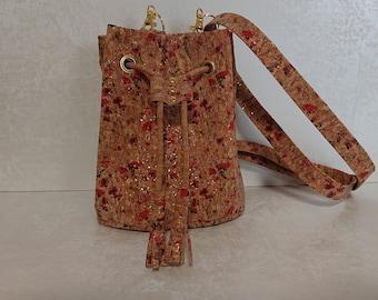 Bag Bucket-Bag Cork Bag Vegan Cork leather Cork Shoulder Bag