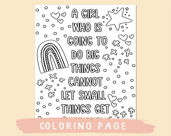 Printable Coloring Pages Quote Coloring Page Coloring For Etsy