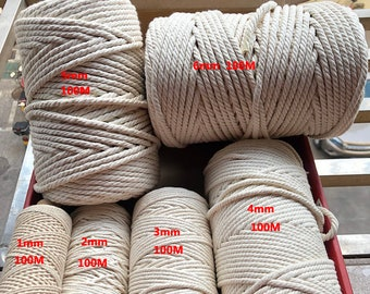 14mm Rope 100/% Cotton Braided all Size White Pulley Roll 30 MTR Pet Safe Natural