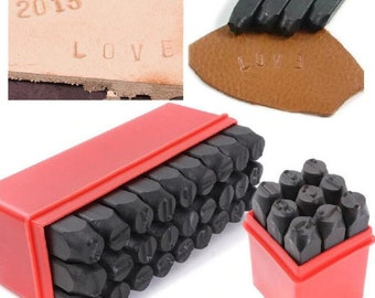 36 Piece Number and Letter Marking Punch Set Ampersand Vector Numbers /& Cap...