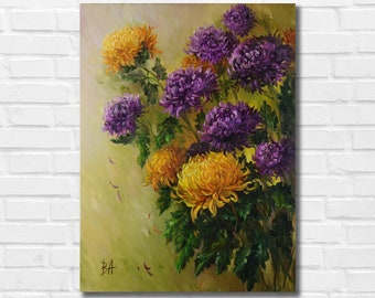Flower oil painting on canvas, Chrysanthemums painting, Original floral painting, Floral still life, Abstract flower painting, Flower art