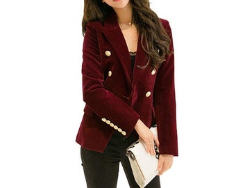Womens Velour Rose Flower Embroidery Tailored Fit Velvet Blazer Jacket Xmas Gift