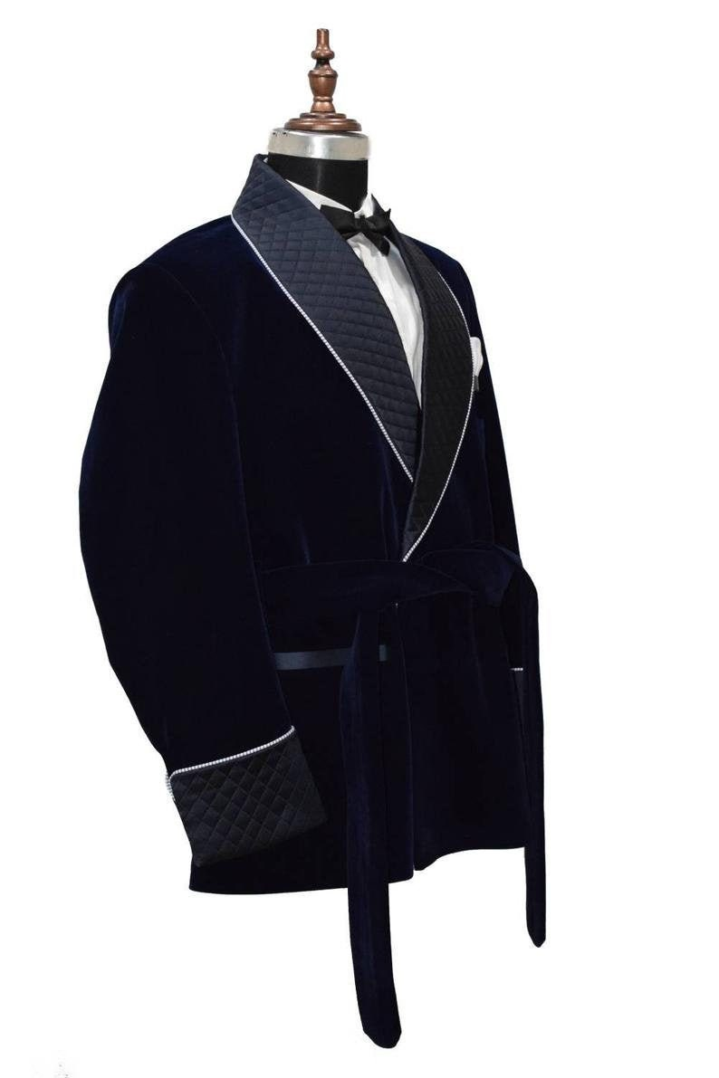 Men/'s Quilted Navy Blue Velvet Smoking Jacket Hosting Dinner Party Wear Jacket Blazers