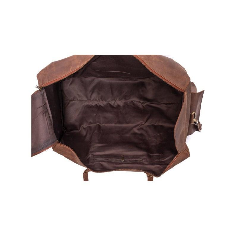 24 inches GENUINE Buff LEATHER Travel Bag Vintage Duffel Overnight Luggage Sports Duffel Brown Men Women  handbag Leather Bag