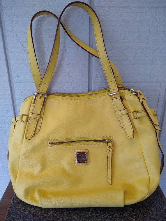 Dooney & Bourke Butter Yellow Soft Leather Large … - image 1