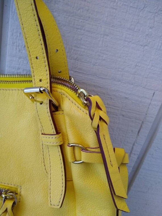 Dooney & Bourke Butter Yellow Soft Leather Large … - image 4
