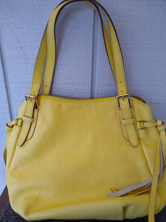 Dooney & Bourke Butter Yellow Soft Leather Large … - image 2