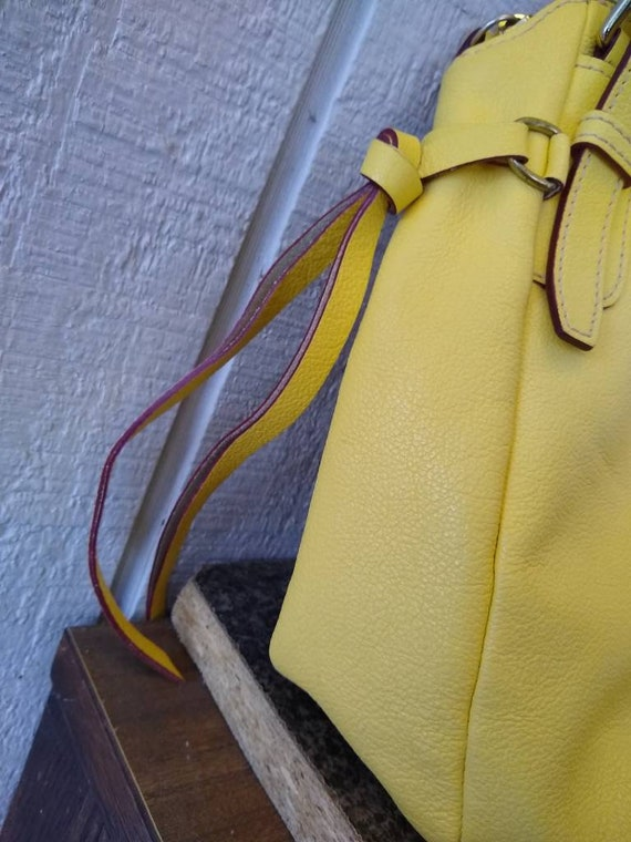 Dooney & Bourke Butter Yellow Soft Leather Large … - image 3