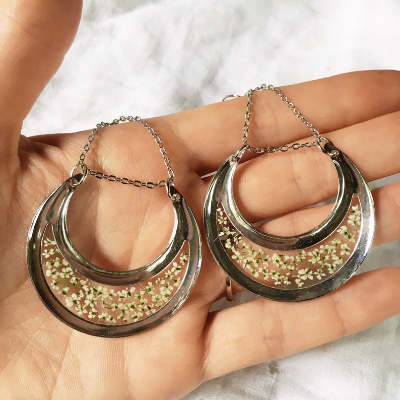 Preserved flowers Pressed flower earrings Crescent moon earrings Queen Anne\u2019s Lace Mom gift from daughter Dried flower jewelry