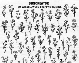 50 wildflowers svg bundle hand drawn wildflowers png bundle flower svg bundle floral svg bundle botanic svg bundle plant svg bundle