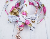 White Dog Leash Lead in Pink Rose Paris France Design with Cute Bow and Rose Gold Metal Fittings Wedding Dog