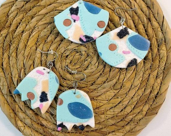 Pastel floral textured earrings