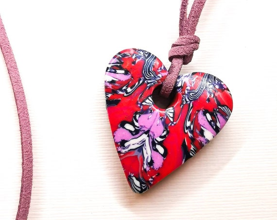 Cute, pink, red, purple and white heart pendant necklace