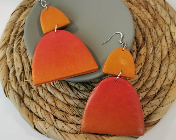 Geometric, orange and red earrings
