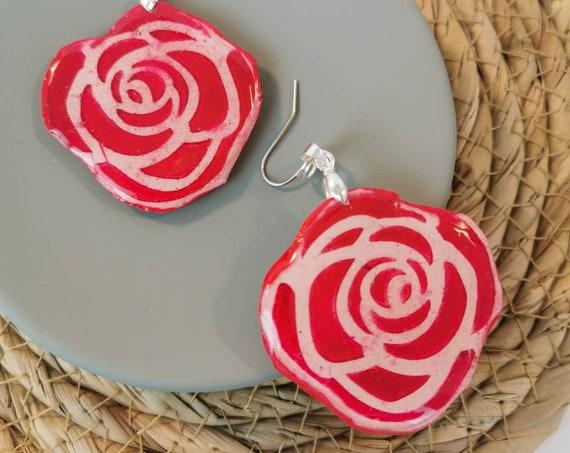 Romantic rose earrings