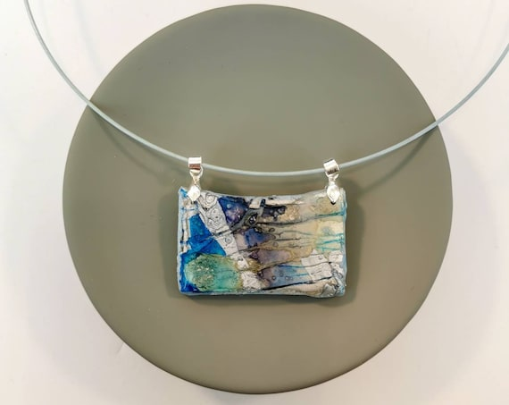 Handpainted blue and grey necklace