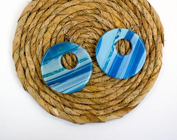 Shades of blue, marbled hoop earrings