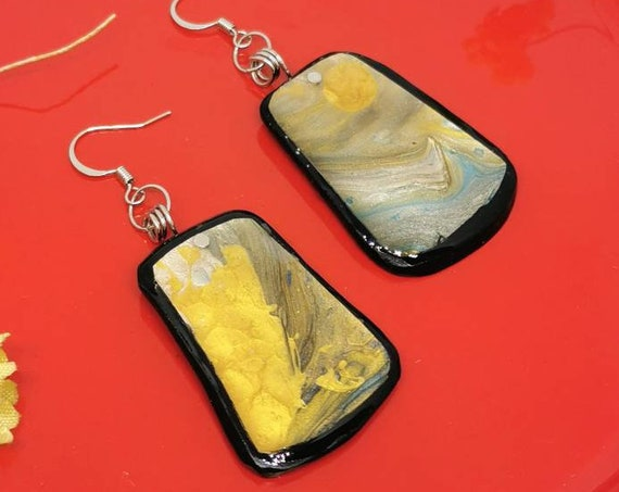 hand painted, polymer clay and resin earrings
