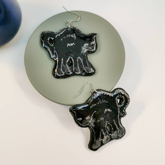 Black cat, Halloween earrings