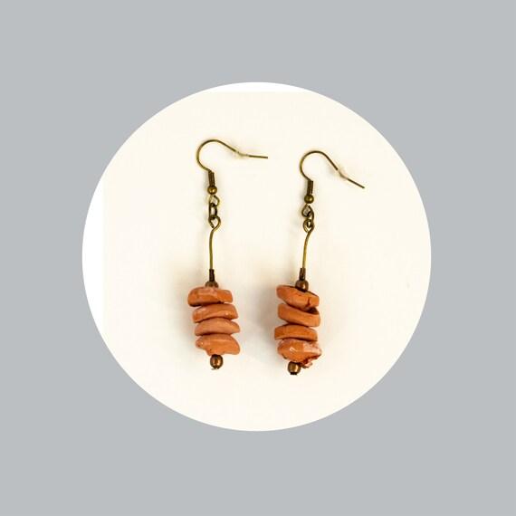 Simple, terracotta air dry drop earrings