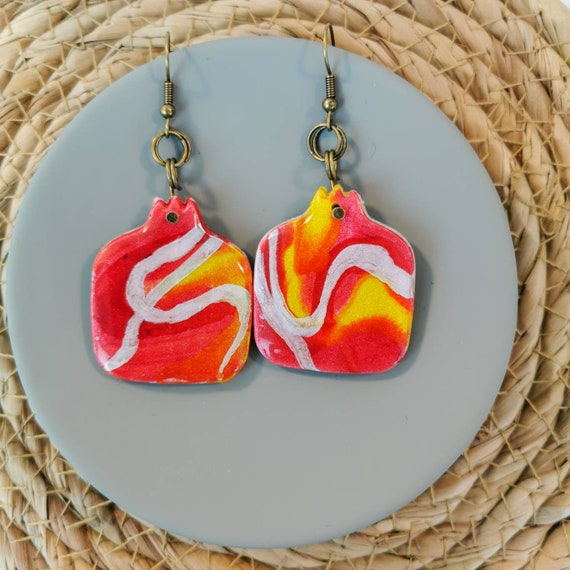 Pomegranate dangle earrings