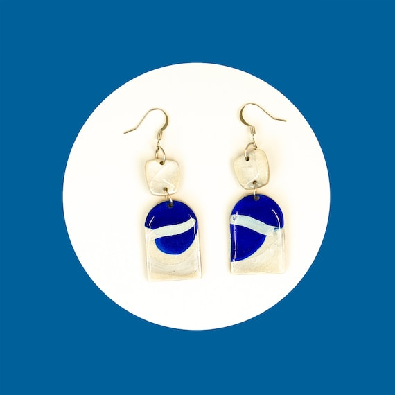 Unique, handpainted, nickel-free, navy blue, polymer clay and resin, drop earrings