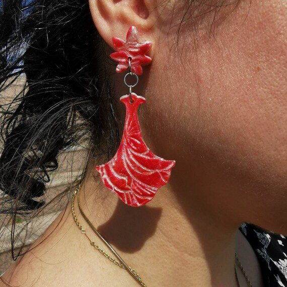 Red, floral, polymer clay and resin drop earrings