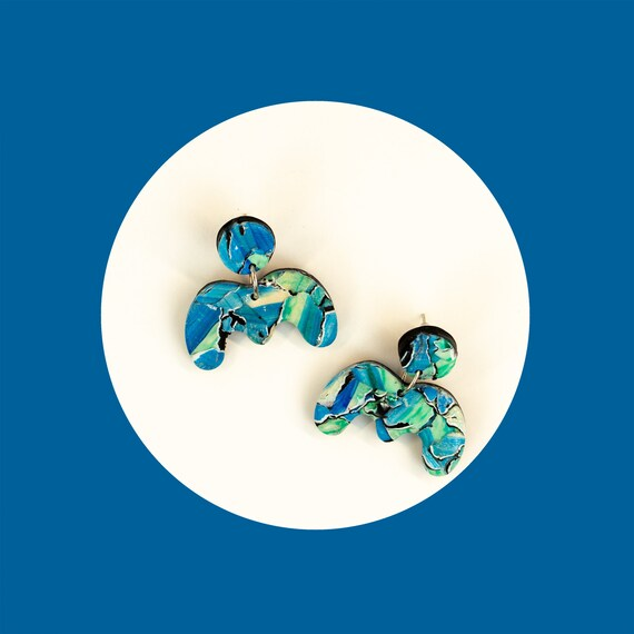 Unique, polymer clay, nickel-free, earrings   'squiggly line', wave earrings