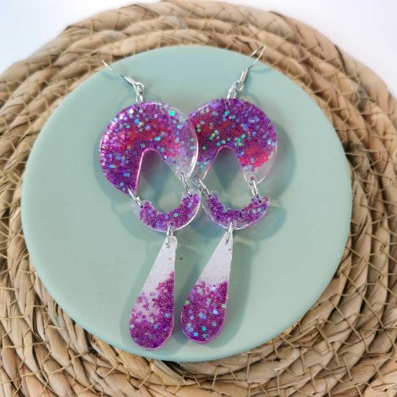 Lightweight geometric purple earrings