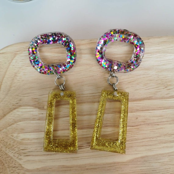 Festive, glitter gangle earrings