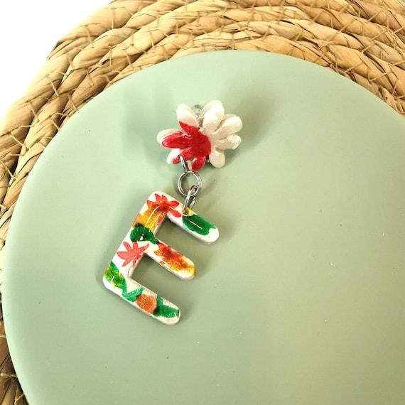 Monogram floral earrings