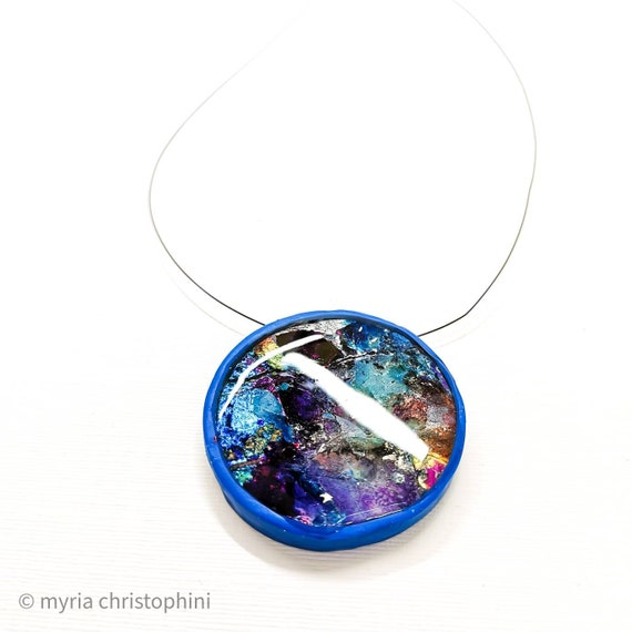 Blue round galaxy pendant necklace