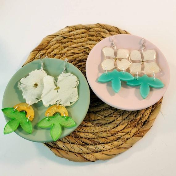 Nickel free real dried flowers earrings
