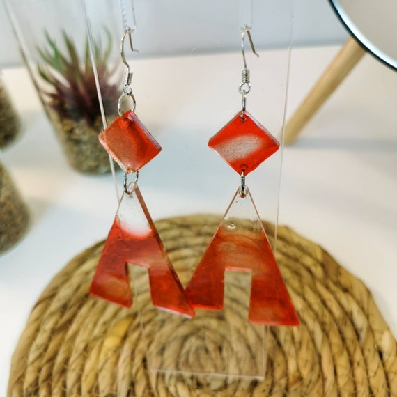 Quirky, red geometrical earrings
