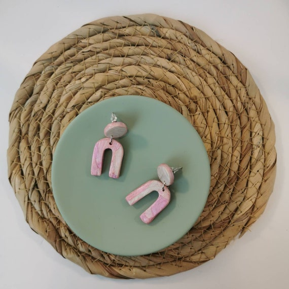 Pearly pastel arches earrings, mini clay u earrings, nickel free pink and pearl white jewellery