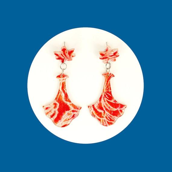 Red floral, nickel free, polymer clay, earrings   bohemian, delicate, chandelier earrings   girly, drop earrings   gift for bridesmade